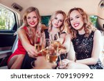 pretty women having party in a... | Shutterstock . vector #709190992