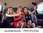 women drinking champagne and... | Shutterstock . vector #709191556