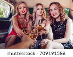 pretty women having party in a...   Shutterstock . vector #709191586