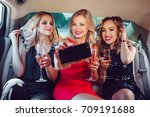women drinking champagne and... | Shutterstock . vector #709191688