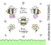 cute hand drawn vector bees ... | Shutterstock .eps vector #709196842