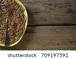 cereal bran sticks with spoon... | Shutterstock . vector #709197592