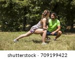 young couple having exercise in ... | Shutterstock . vector #709199422
