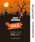 halloween sale . set of vector... | Shutterstock .eps vector #709199746
