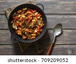 lentils and seasonal garden... | Shutterstock . vector #709209052