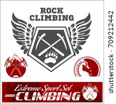 set of mountain climbing... | Shutterstock .eps vector #709212442