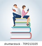 man and woman reading books... | Shutterstock .eps vector #709213105