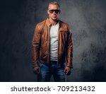 handsome blond  muscular male...   Shutterstock . vector #709213432