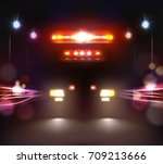 car lights realistic... | Shutterstock .eps vector #709213666