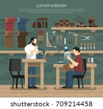 skinners working with leather... | Shutterstock .eps vector #709214458