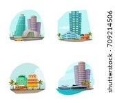 miami cityscape 4 famous... | Shutterstock .eps vector #709214506