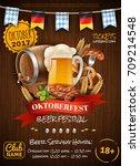 festive oktoberfest poster with ... | Shutterstock .eps vector #709214548