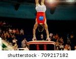 vault male gymnast to... | Shutterstock . vector #709217182