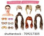women hairstyle eyeglasses... | Shutterstock .eps vector #709217305