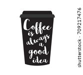 coffee cup with hand drawn... | Shutterstock .eps vector #709217476