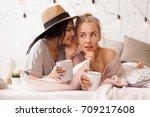 young beautiful women... | Shutterstock . vector #709217608