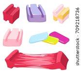 set of colorful bubble gum... | Shutterstock .eps vector #709218736