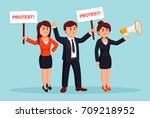 angry people. protestors hold... | Shutterstock .eps vector #709218952