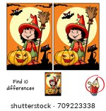 cute little witch girl with a... | Shutterstock .eps vector #709223338