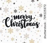 merry christmas lettering design   Shutterstock .eps vector #709225372