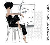 fashion woman in sketch style.... | Shutterstock .eps vector #709228366
