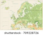 europe physical map. retro... | Shutterstock .eps vector #709228726