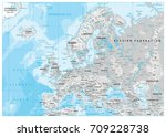 europe physical map. white and... | Shutterstock .eps vector #709228738