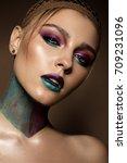beautiful girl with creative... | Shutterstock . vector #709231096