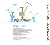 cargo cranes and containers at... | Shutterstock .eps vector #709238746
