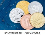 bitcoins with litecoin is a... | Shutterstock . vector #709239265