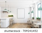 white brick cafe and bar... | Shutterstock . vector #709241452