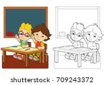 cartoon scene with children in... | Shutterstock . vector #709243372