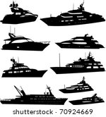 motor yacht collection   vector | Shutterstock .eps vector #70924669