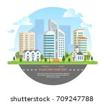 cityscape with a place for text ... | Shutterstock .eps vector #709247788