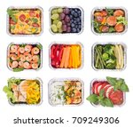healthy meals and salads in... | Shutterstock . vector #709249306