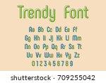 vector trendy font and alphabet ... | Shutterstock .eps vector #709255042