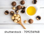 the macadamia nut oil and... | Shutterstock . vector #709256968