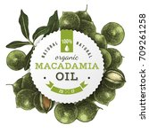 macadamia oil round label with... | Shutterstock .eps vector #709261258