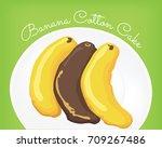 banana cotton cake vector | Shutterstock .eps vector #709267486