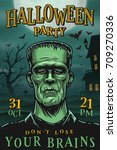 halloween party poster with... | Shutterstock .eps vector #709270336