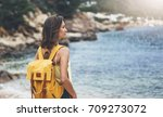 back view hipster girl with... | Shutterstock . vector #709273072