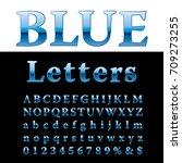blue alphabet  fat blue letters ... | Shutterstock .eps vector #709273255