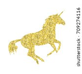 gold unicorn mythical horse in... | Shutterstock .eps vector #709274116