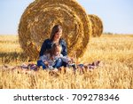 happy mother and 2 year old... | Shutterstock . vector #709278346