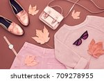 autumn arrives. fashion lady... | Shutterstock . vector #709278955