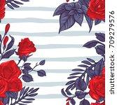 rose seamless pattern  vector... | Shutterstock .eps vector #709279576