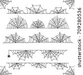Stock vector halloween cobweb vector frame border and dividers isolated on white with spider web for spiderweb 709280536