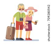 old people travelers on holiday.... | Shutterstock .eps vector #709280542