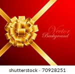 golden bow on red background.... | Shutterstock .eps vector #70928251