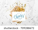 photo frame or gift card with... | Shutterstock . vector #709288672